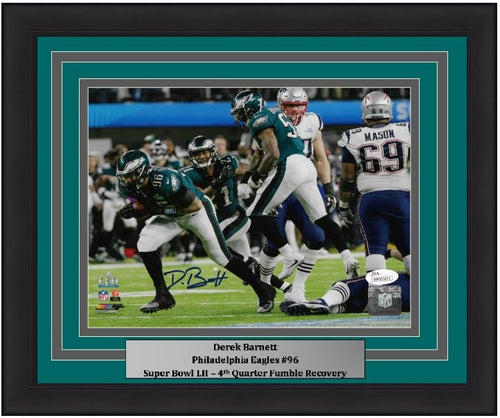 "Derek Barnett Super Bowl LII Fumble Recovery Philadelphia Eagles Autographed NFL Football 8"" x 10"" Framed and Matted Photo"
