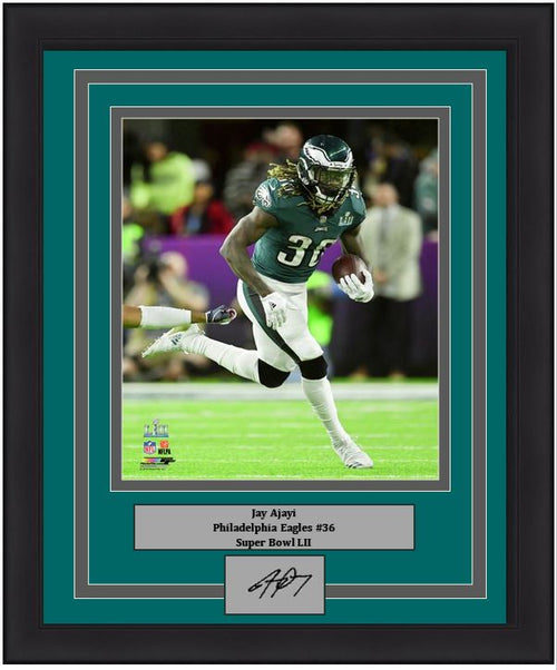 "Philadelphia Eagles Jay Ajayi Super Bowl LII Engraved Autograph NFL Football 8"" x 10"" Framed & Matted Photo (Dynasty Signature Collection)"