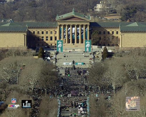 "Philadelphia Eagles Super Bowl LII Championship Parade Above the Art Museum 8"" x 10"" Football Photo - Dynasty Sports & Framing"