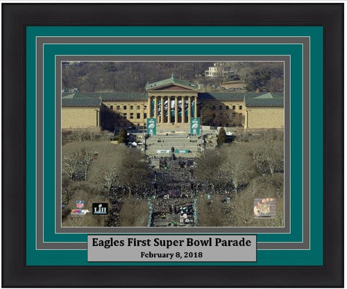 "Philadelphia Eagles Super Bowl LII Championship Parade Above the Art Museum NFL Football 8"" x 10"" Framed Football Photo"