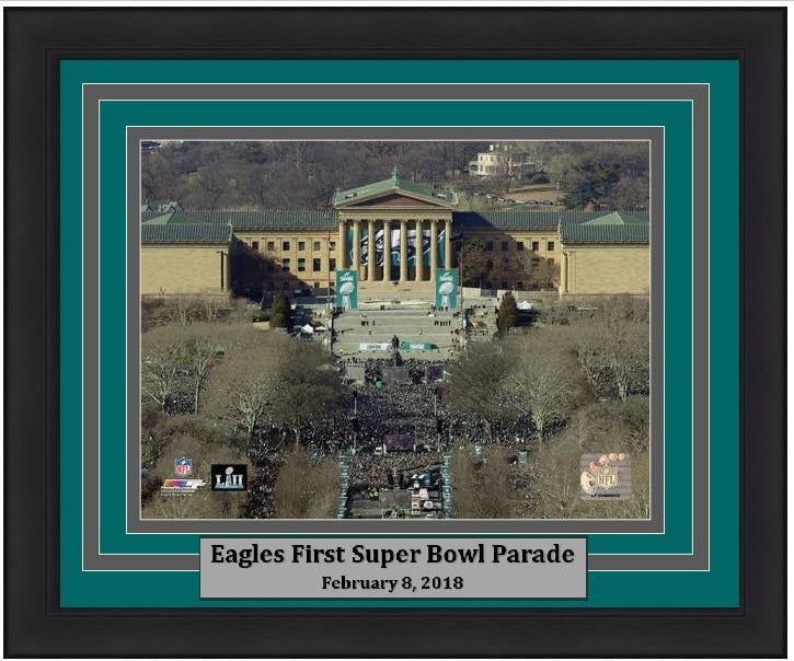 "Philadelphia Eagles Super Bowl LII Championship Parade Above the Art Museum NFL Football 8"" x 10"" Framed and Matted Photo"