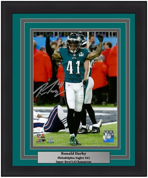 Philadelphia Eagles Ronald Darby Super Bowl Autographed NFL Football Framed and Matted Photo