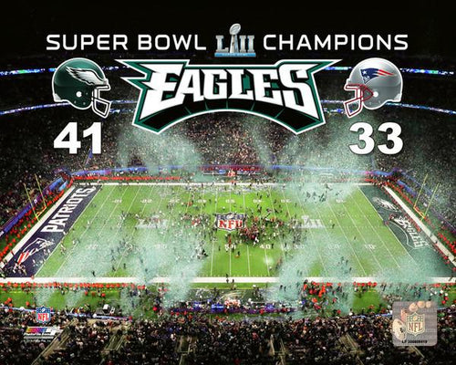 "Philadelphia Eagles Super Bowl LII Champions Stadium Final Score NFL Football 8"" x 10"" Photo - Dynasty Sports & Framing"