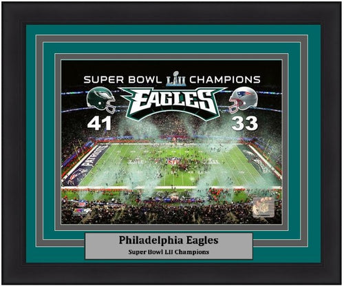 "Philadelphia Eagles Super Bowl LII Champions Stadium Final Score NFL Football 8"" x 10"" Framed and Matted Photo"