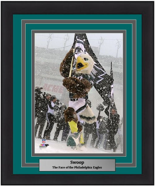 "Philadelphia Eagles Swoop NFL Football 8"" x 10"" Framed and Matted Mascot Photo"