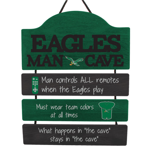 Philadelphia Eagles Throwback Football Wooden Man Cave Sign - Dynasty Sports & Framing