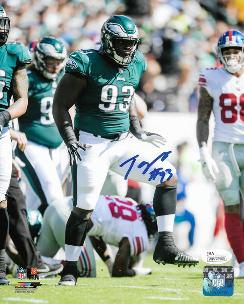 "Philadelphia Eagles Timmy Jernigan Autographed NFL Football 8"" x 10"" Photo"