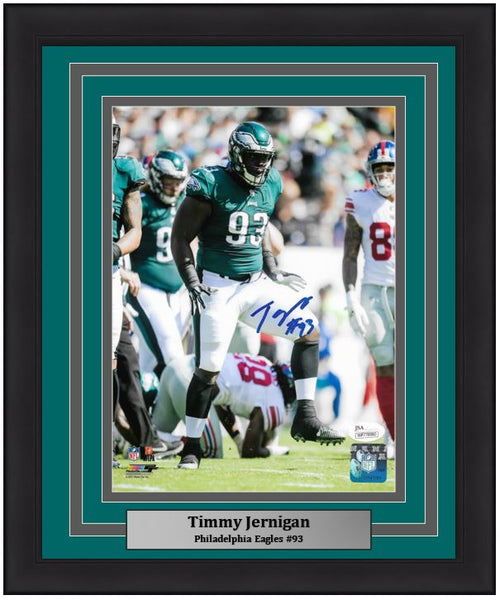 "Philadelphia Eagles Timmy Jernigan Autographed NFL Football 8"" x 10"" Framed and Matted Photo"