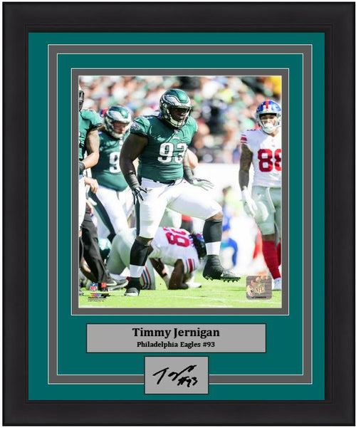 Timmy Jernigan in Action Philadelphia Eagles Framed Football Photo with Engraved Autograph - Dynasty Sports & Framing