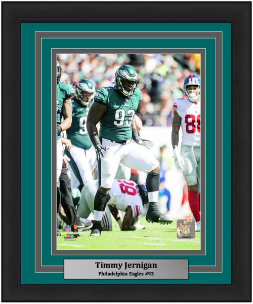 Timmy Jernigan in Action Philadelphia Eagles Framed Football Photo - Dynasty Sports & Framing