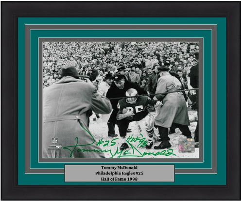 "Philadelphia Eagles Tommy McDonald Autographed 8"" x 10"" Framed and Matted Photo with Hall of Fame Inscription"