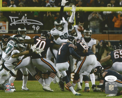 Philadelphia Eagles Treyvon Hester Autographed Blocked Field Goal NFL Football Photo
