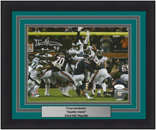 Philadelphia Eagles Treyvon Hester Autographed Blocked Field Goal NFL Football Framed and Matted Photo