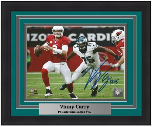 Philadelphia Eagles Vinny Curry Autographed NFL Football Framed and Matted Photo
