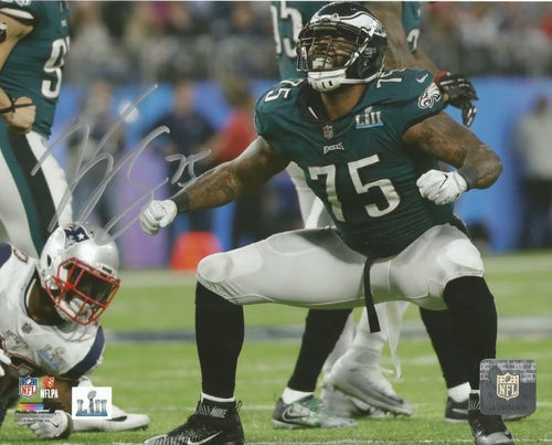 Vinny Curry Super Bowl LII Philadelphia Eagles Autographed Football Photo - Dynasty Sports & Framing