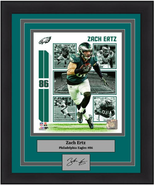 "Zach Ertz Player Collage Philadelphia Eagles NFL Football 8"" x 10"" Framed and Matted Photo with Engraved Autograph"