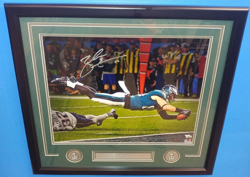 "Philadelphia Eagles Zach Ertz Super Bowl LII Autographed NFL Football 16"" x 20"" Framed and Matted Photo"
