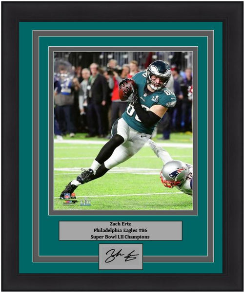 "Zach Ertz Philadelphia Eagles Super Bowl LII Action NFL Football 8"" x 10"" Framed and Matted Photo with Engraved Autograph"