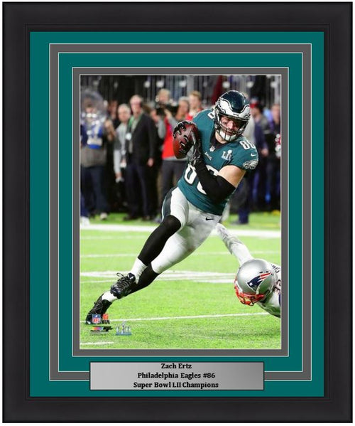 "Zach Ertz Philadelphia Eagles Super Bowl LII Action NFL Football 8"" x 10"" Framed and Matted Photo"