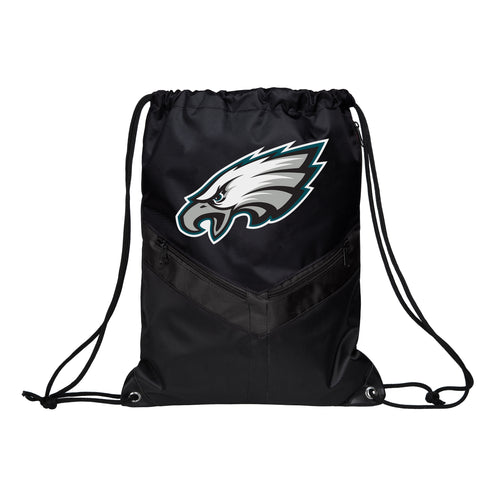 Philadelphia Eagles NFL Football Victory Stripe Zipper Drawstring Backpack - Dynasty Sports & Framing