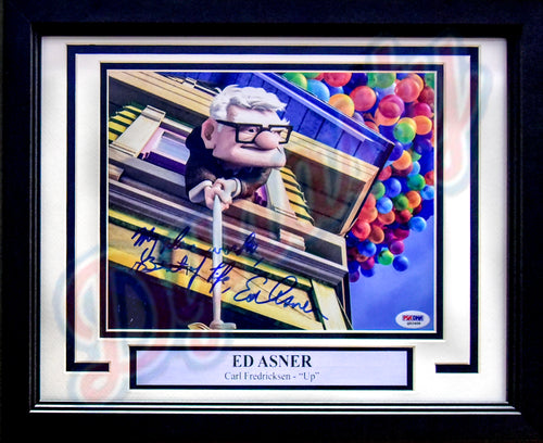 "Ed Asner Autographed 'Up' 8"" x 10"" Framed Photo with Inscriptions"