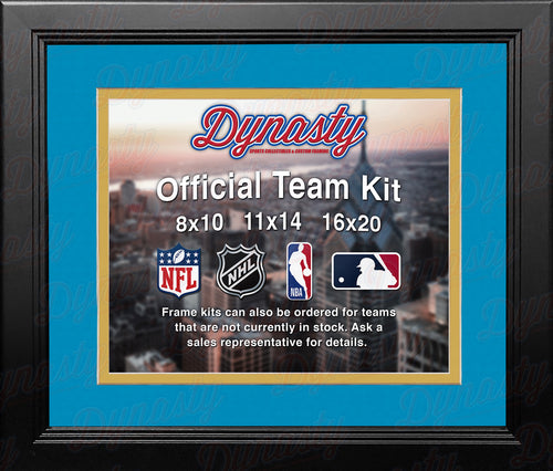 NFL Football Photo Picture Frame Kit - Los Angeles Chargers (Light Blue Matting, Yellow Trim) - Dynasty Sports & Framing