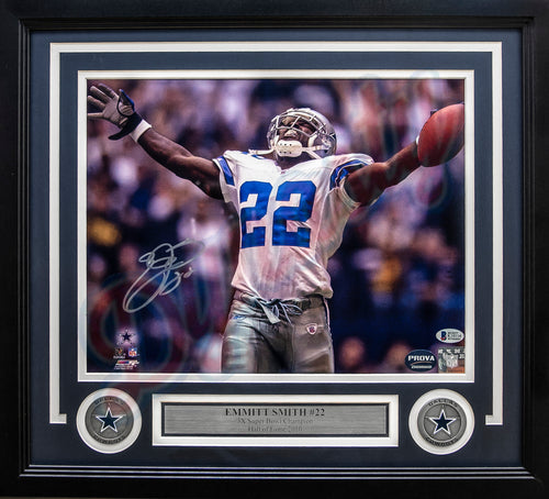 "Emmitt Smith Dallas Cowboys Breaks the All-Time Rushing Record Autographed 11"" x 14"" Framed and Matted Photo"