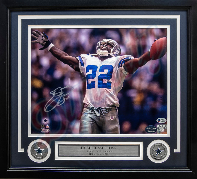 "Emmitt Smith Dallas Cowboys Breaks the All-Time Rushing Record Autographed 11"" x 14"" Framed Photo - Dynasty Sports & Framing"