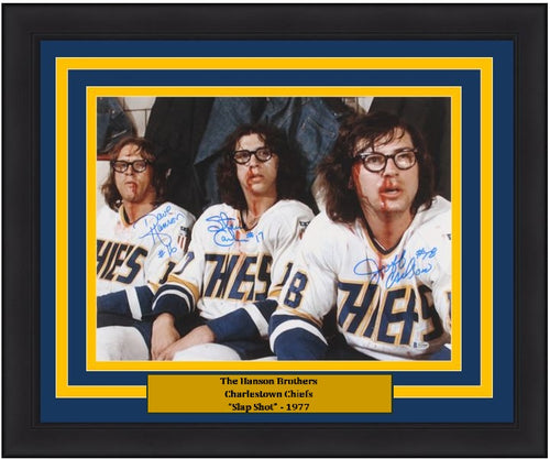 "Hanson Brothers Slap Shot Autographed Charlestown Chiefs 16"" x 20"" Framed Photo - Dynasty Sports & Framing"