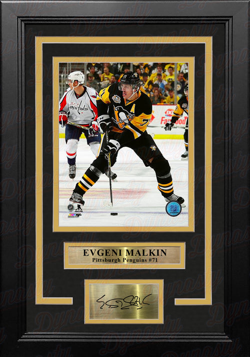 "Evgeni Malkin in Action Pittsburgh Penguins 8"" x 10"" Framed Hockey Photo with Engraved Autograph - Dynasty Sports & Framing"