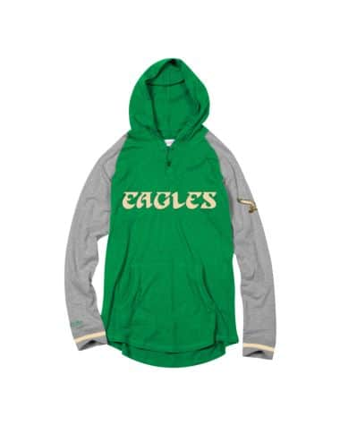 Philadelphia Eagles Mitchell & Ness Slugfest Lightweight Hooded Sweatshirt (Green) - Dynasty Sports & Framing
