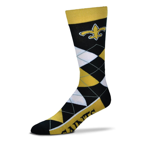New Orleans Saints Men's NFL Football Argyle Lineup Socks - Dynasty Sports & Framing