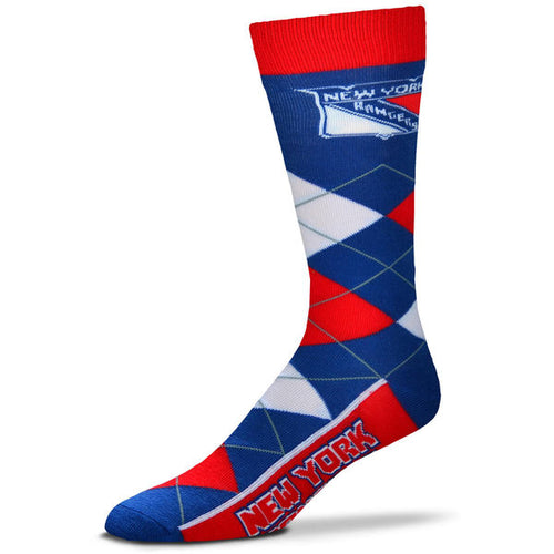 New York Rangers Men's NHL Hockey Argyle Lineup Socks - Dynasty Sports & Framing