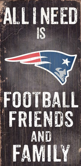 New England Patriots Football and My Friends & Family Wood Sign