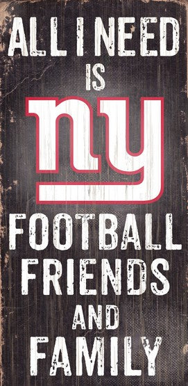 New York Giants Football and My Friends & Family Wood Sign - Dynasty Sports & Framing