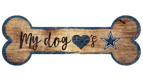 Dallas Cowboys Football Dog Bone Wooden Sign - Dynasty Sports & Framing