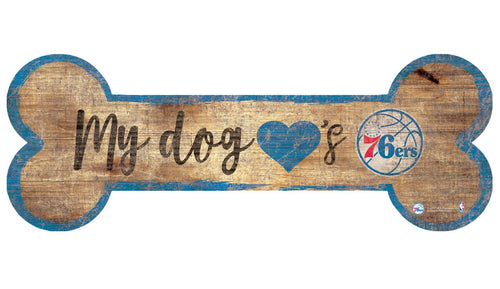 Philadelphia 76ers Basketball Dog Bone Wooden Sign