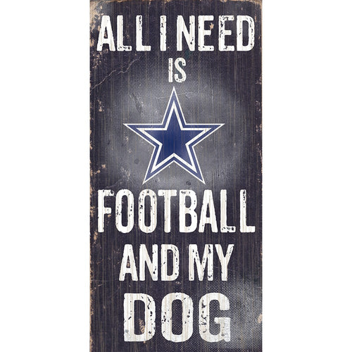 Dallas Cowboys Football and My Dog Wooden Sign - Dynasty Sports & Framing
