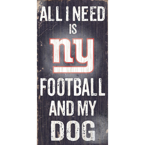New York Giants Football and My Dog Wooden Sign - Dynasty Sports & Framing