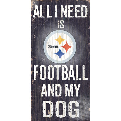 Pittsburgh Steelers Football and My Dog Wooden Sign