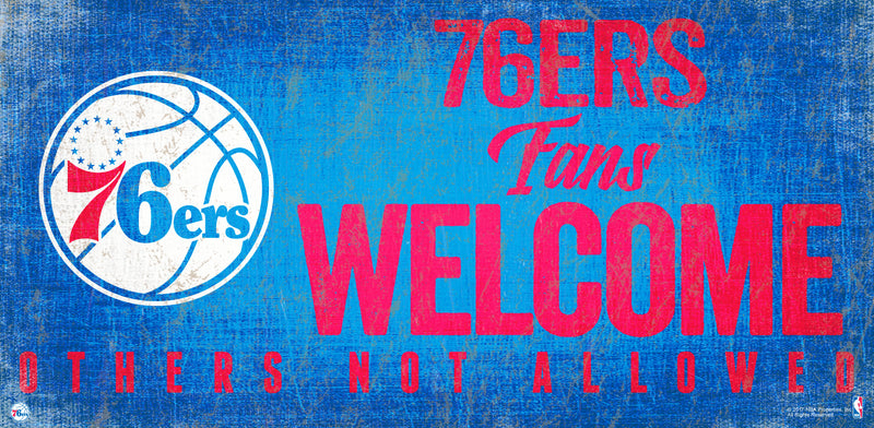 Philadelphia 76ers Fans Welcome Wooden Sign