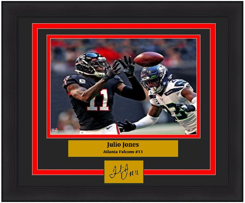 "Julio Jones Close-Up Catch Atlanta Falcons 8"" x 10"" Framed Football Photo with Engraved Autograph - Dynasty Sports & Framing"