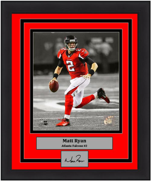 "Atlanta Falcons Matt Ryan Engraved Autograph NFL Football 8"" x 10"" Framed & Matted Photo (Dynasty Signature Collection) - Dynasty Sports & Framing"