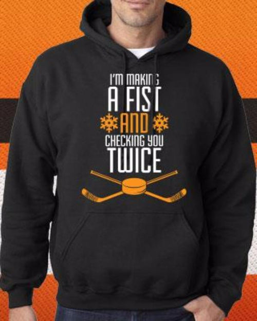 Philadelphia Flyers NHL Hockey Making a Fist, Checking You Twice Holiday Hoodie (Dynasty Sports Exclusive) - Dynasty Sports & Framing