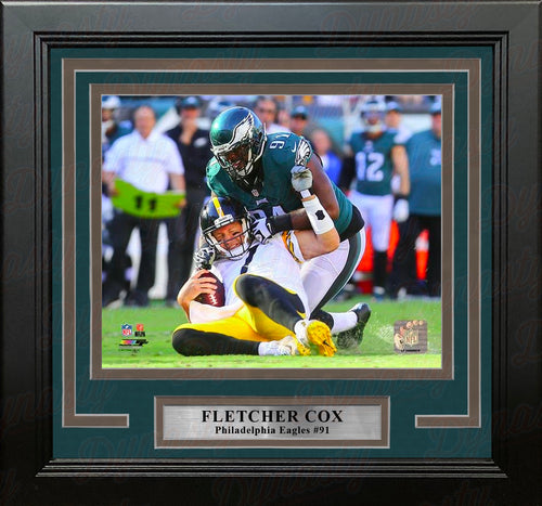 Fletcher Cox Sacks Roethlisberger Philadelphia Eagles NFL Football Framed and Matted Photo - Dynasty Sports & Framing