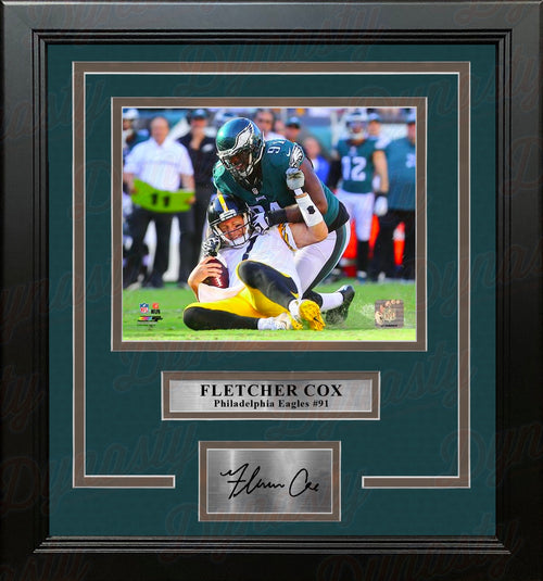 Fletcher Cox Sacks Roethlisberger Philadelphia Eagles Framed Football Photo with Engraved Autograph - Dynasty Sports & Framing