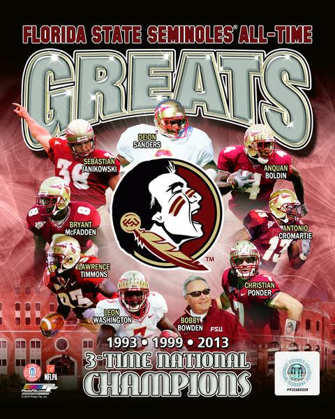 "Florida State Seminoles All-Time Greats NCAA College Football 8"" x 10"" Photo"