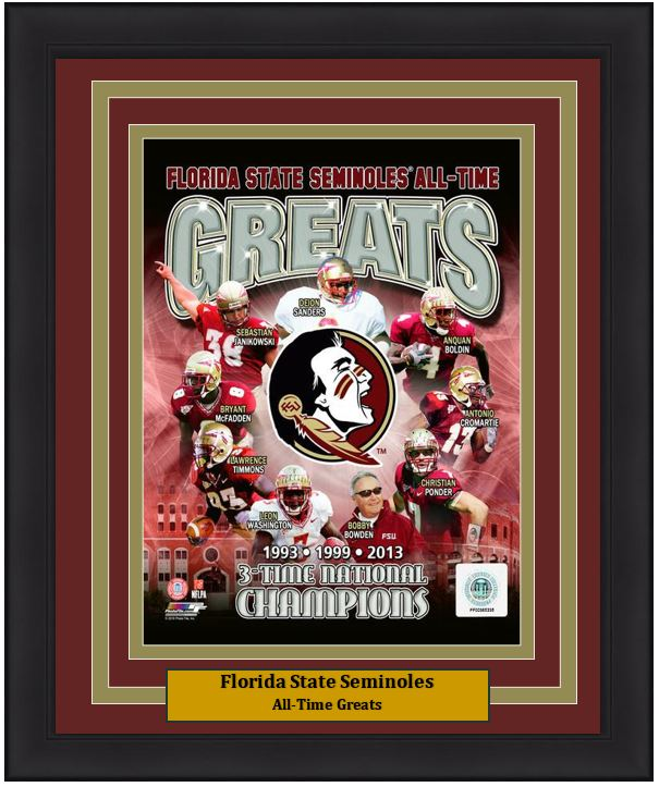 "Florida State Seminoles All-Time Greats NCAA College Football 8"" x 10"" Framed and Matted Photo - Dynasty Sports & Framing"