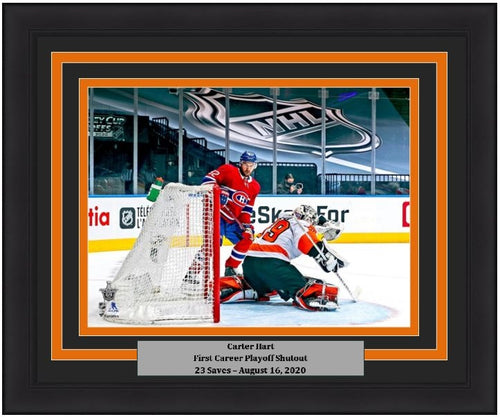 "Carter Hart First Playoff Shutout Philadelphia Flyers 8"" x 10"" Framed Hockey Photo - Dynasty Sports & Framing"