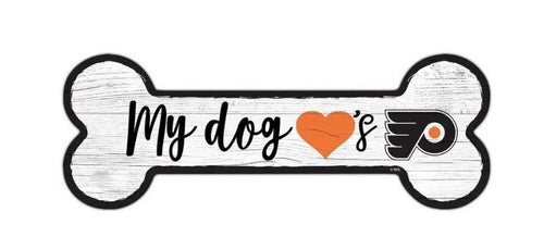 Philadelphia Flyers Hockey Dog Bone Wooden Sign